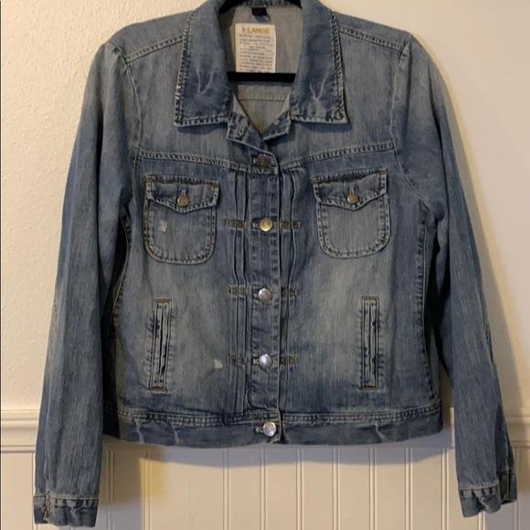J. Crew Jackets & Blazers - J CREW Distressed Denim Jean Jacket XL